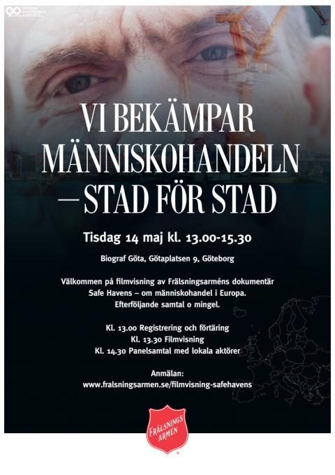 Inbjudan till Frälsningsarméns visning av dokumentärfilmen Safe Havens i Göteborg.