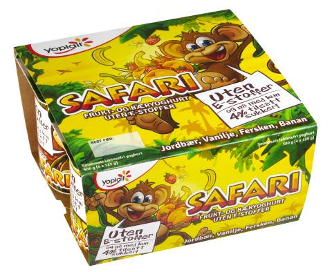 Yoplait Safari Apeyoghurt. Jordbær, vanilje, fersken og banan.