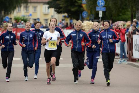 VasaStafetten, damsegrarinnorna Karlslund på upploppet