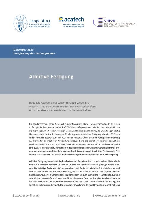 Kurzfassung der Stellungnahme Additive Fertigung