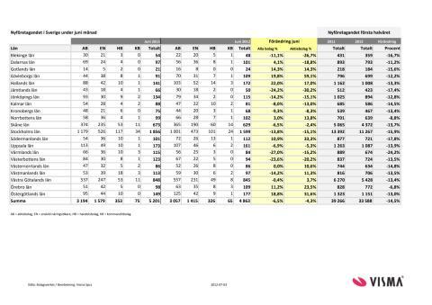 Vismas månadsrapport för nyföretagandet (juni 2012)