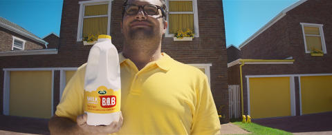 """Arla brings bold bursts of yellow to a town called compromise in new TV ad for Arla """"Best of Both"""" milk"""