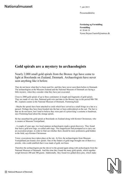 Press release in English: Gold spirals are a mystery to archaeologists