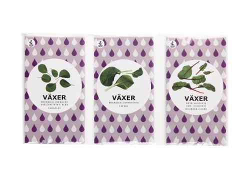 VÄXER frø pak choi/spidskål/bladbede, 15.-/ 3 stk
