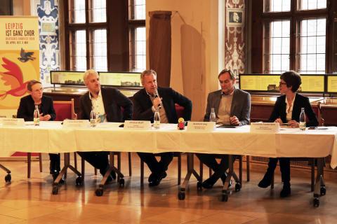 Veronika Petzold, Tobias Rosenthal, Christian Wulff, Burkhard Jung und Franziska Franke-Kern (v.l.) beim Pressegespräch zum Deutschen Chorfest 2020 in Leipzig