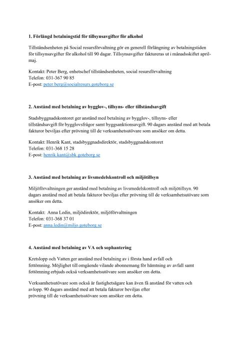 Bilaga - Så stöttar Göteborgs Stad de företag som drabbats av coronapandemins effekter