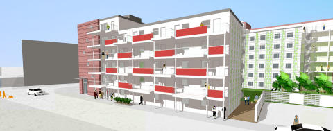 Studentbostadshus vid Stapelbäddsparken