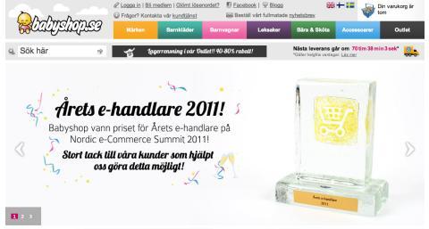 Babyshop.se är Årets ehandlare 2011 - Grattis!