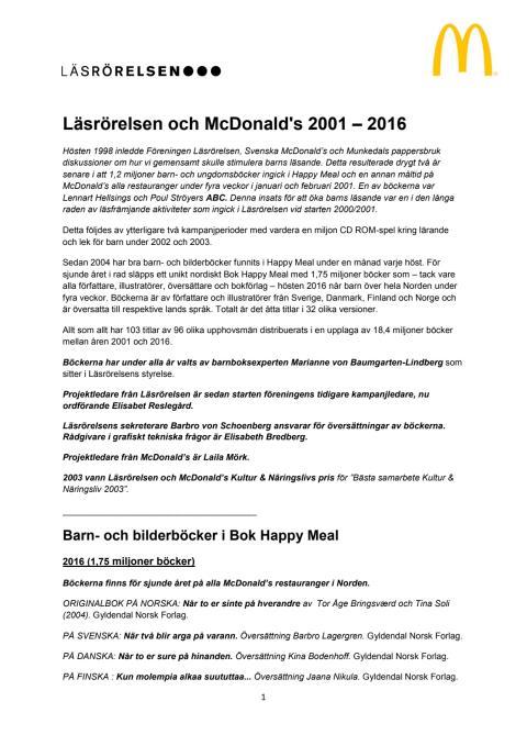 Läsrörelsen och McDonald's 2001-2016
