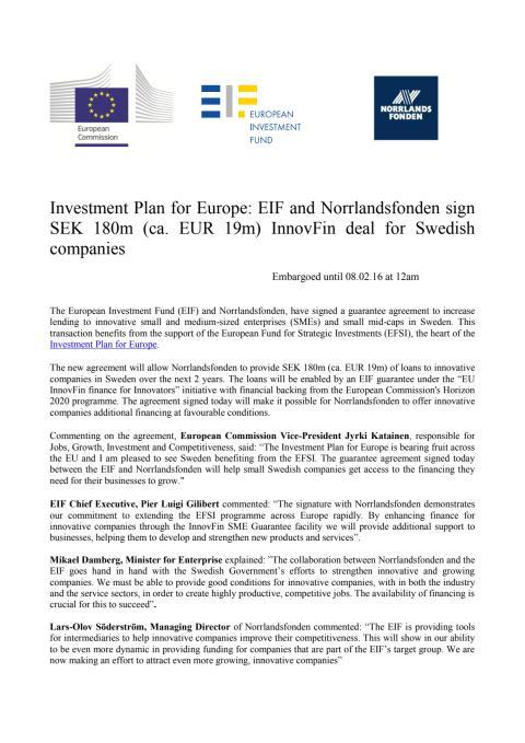 pressrelease EIF (En halv miljard till investeringar via Norrlandsfonden tack vare EIF)