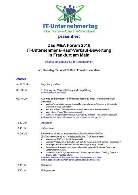 Agenda und Anmeldung zum M&A Forum 2018