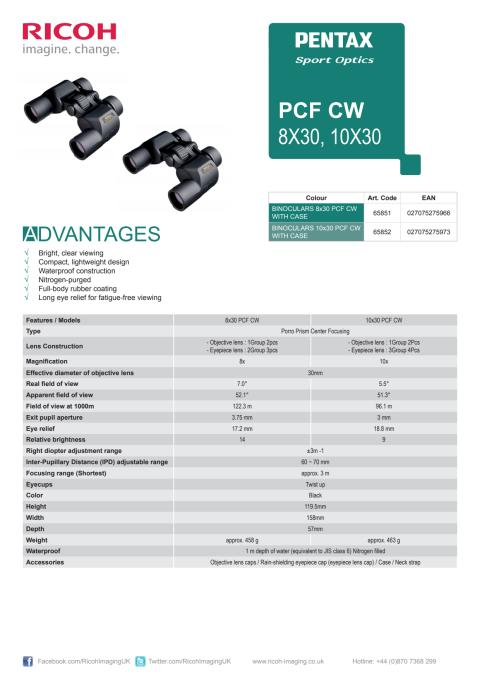 Pentax PCF CW specifikationer
