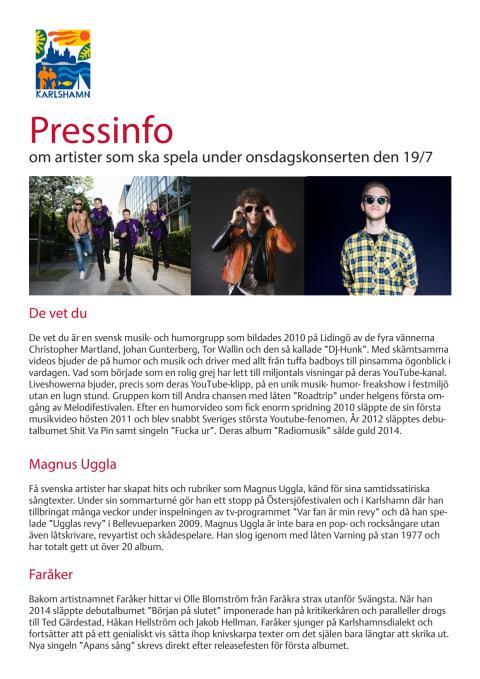 Pressinfo onsdagskonsert Östersjöfestivalen