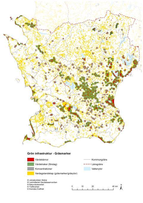 Karta över de mest värdefulla gräsmarkerna i Skåne (ur handlingsplanen)