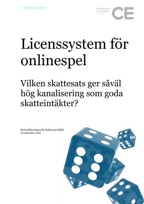 Rapport: Licenssystem för onlinespel - Vilken skattesats ger såväl hög kanalisering som goda skatteintäkter?