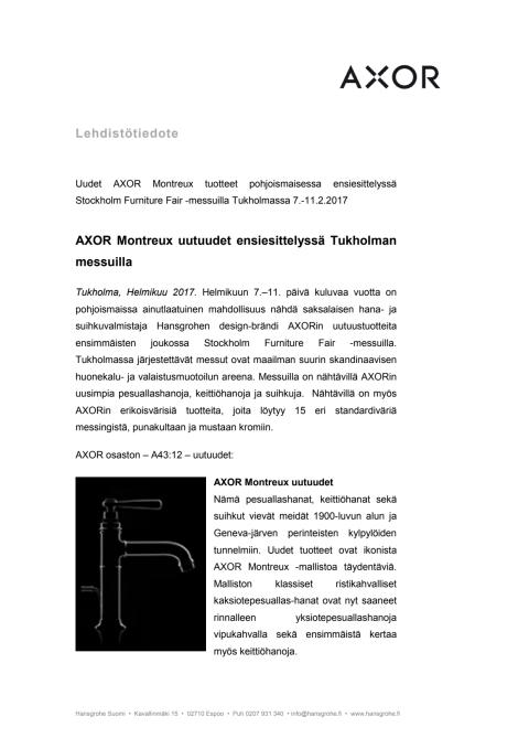 AXOR Montreux uutuudet esittelyssä Tukholman messuilla 7.-11.2.2017