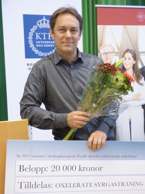 Peter Lindholm från Oxelerate Syrgasträning vann kategorin Fysisk aktivitet vid kroniska sjukdomar i Shine Competition