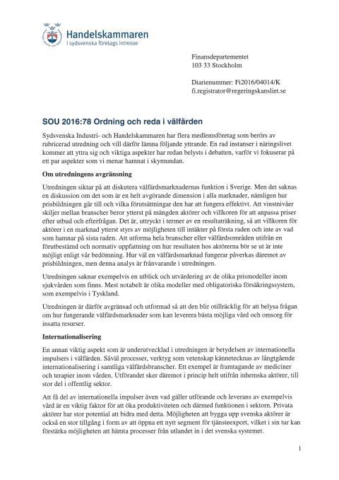 Remissvar SOU 2016:78 Ordning och reda i välfärden