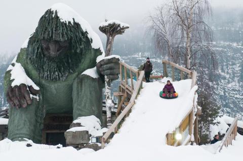 Ein Troll im Hunderfossen Winter Park