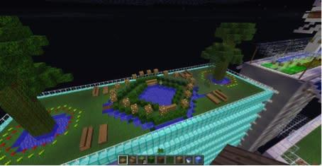 Detalj ur Mina kvarter-staden skapad i Minecraft av Viktor Rydbergs Samskola