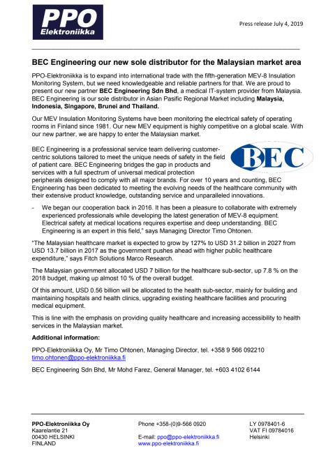 BEC Engineering our new sole distributor for the Malaysian market area