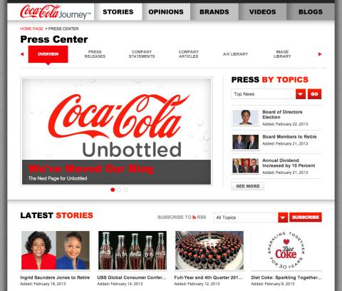 Coca-Cola's online newsroom assessed in The 2013 Newsroom Report