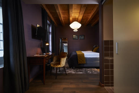 Guest room at Spedition Hotel, Thun, Switzerland - hotel design by Stylt
