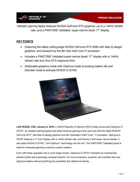 ROG Zephyrus S (GX701) Press Release and Specifications