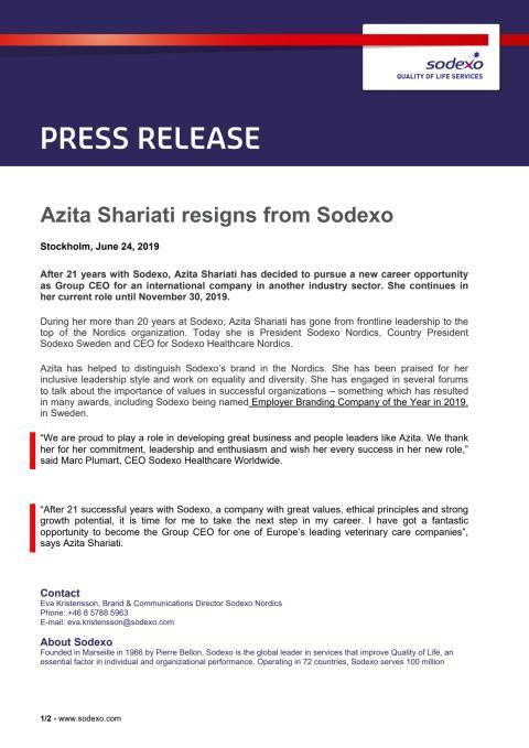 Azita Shariati resigns from Sodexo