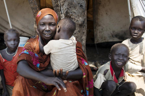 Åttabarnsmamman Chama Abdallah i flyktinglägret Yusuf Batil i Sydsudan
