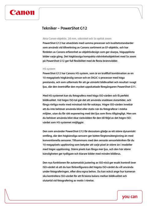 Teknisk förklaring PowerShot G12
