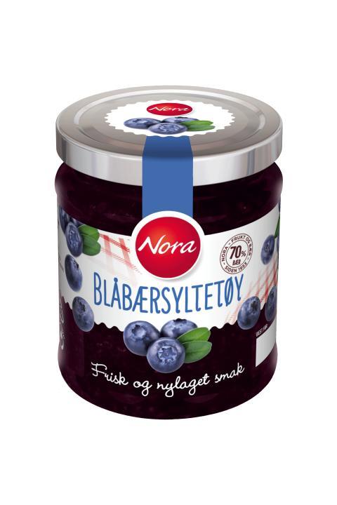 Nora Blåbærsyltetøy friskt og nylaget med 70 prosent bær
