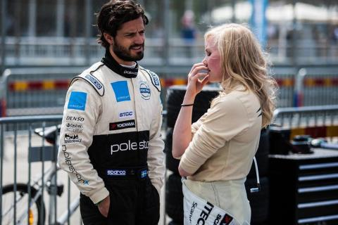 Emma Kimiläinen och prins Carl Philip i första startled i första STCC-heatet