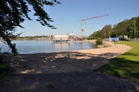 Otjänligt vatten vid Vägga havsbad i Karlshamn