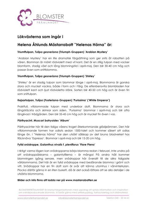 """Lökväxterna som ingår i  Helena Åhlunds Mästarrabatt """"Helenas Hörna"""" är:"""