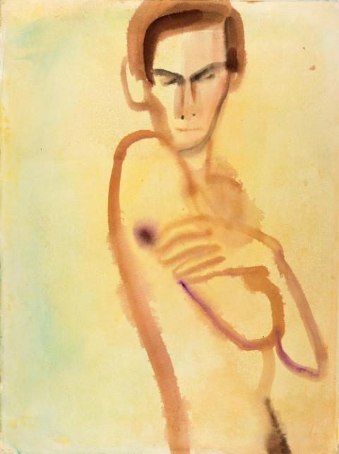 Mats Gustafson, Nude (Karl), 1991, akvarell på papper
