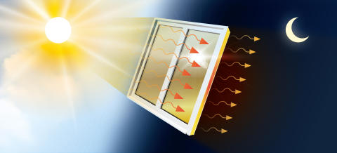 Fönsterfilm som kan jämna ut temperaturen