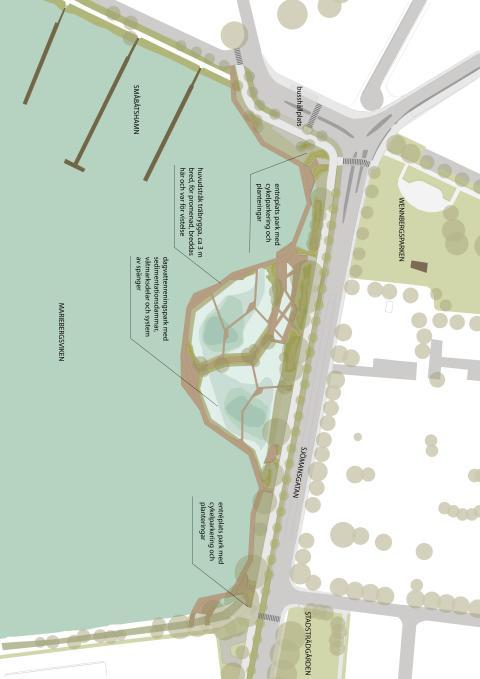 Illustration av dagvattenpark med förklarande text (Illustration: 02Landskap)