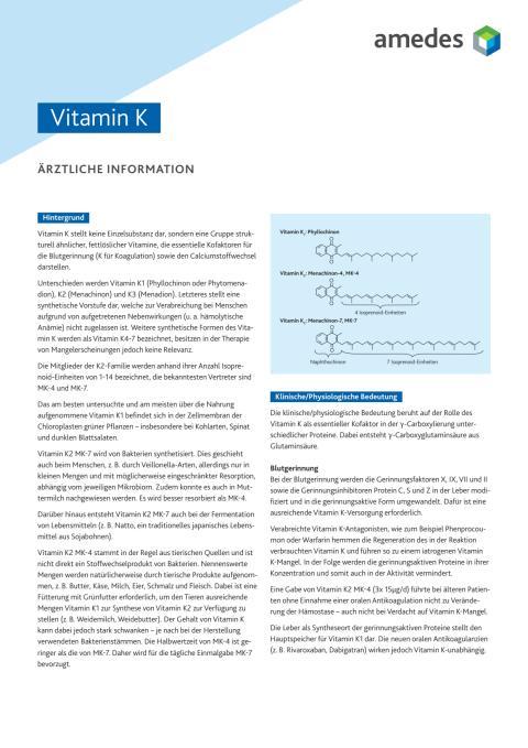Ärztliche Information Vitamin K2