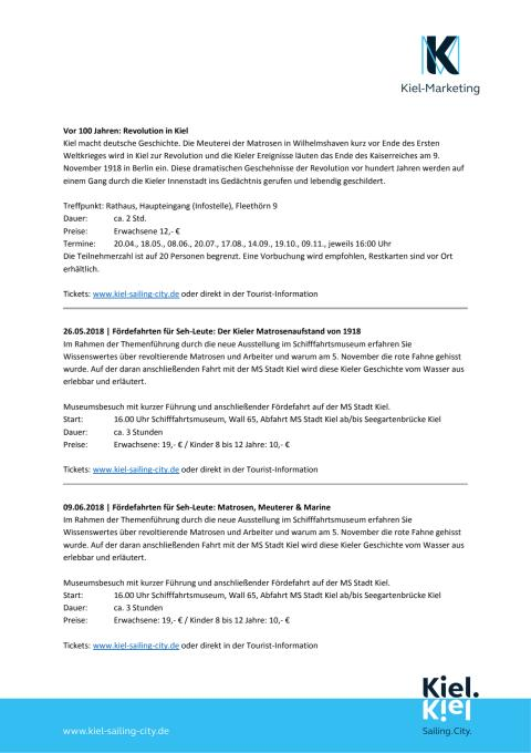 Weitere Veranstaltungen rund um das Thema Matrosenaufstand