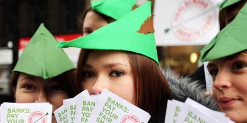 Robin Hood tax: Demonstration för finansiell transaktionsskatt