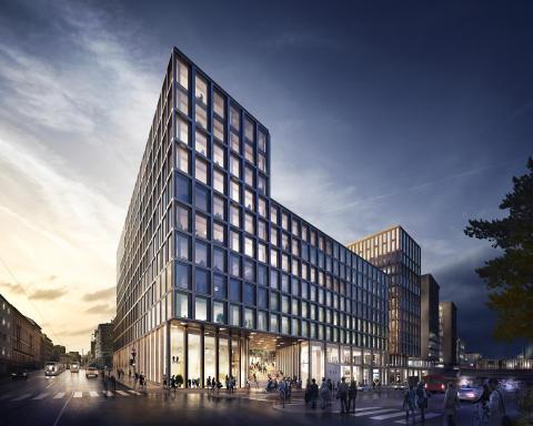 Det planlagte nybygget i Ruseløkkveien 26, sett fra sjøsiden.