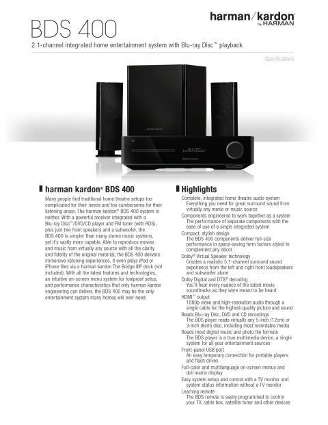 Specification sheet - harman kardon BDS 400 (English)