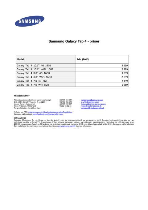 Galaxy Tab 4 - danske priser