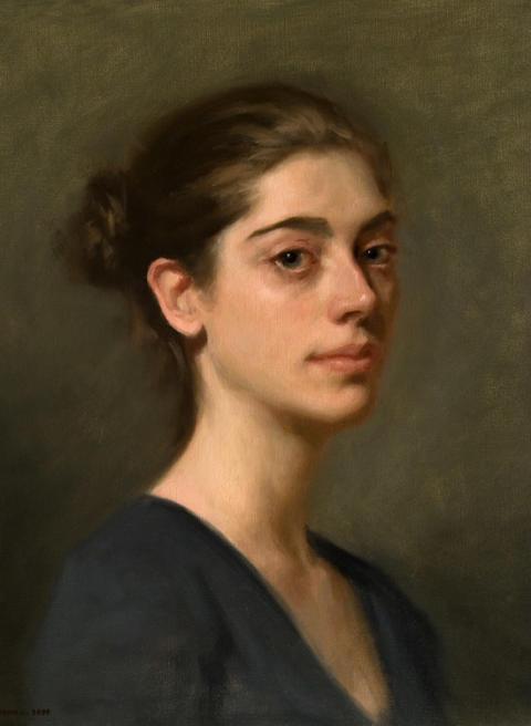 Kvinna i blågrått, olja på duk, Urban Larsson.