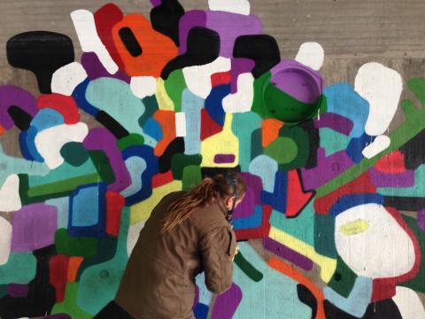 Första verket växer fram – No Limit Street Art Borås