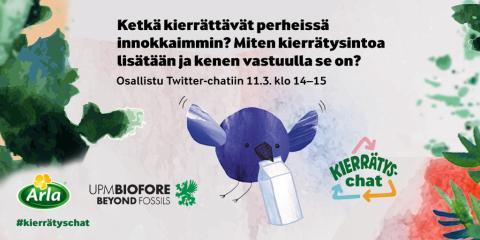 Twitterissä keskustellaan kierrätyksestä 11.3. klo 14–15