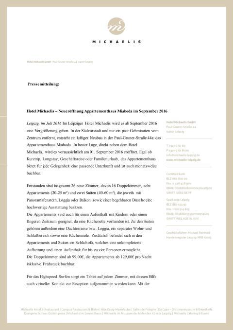 Pressemitteilung Eröffnung Miaboda-Appartementhaus