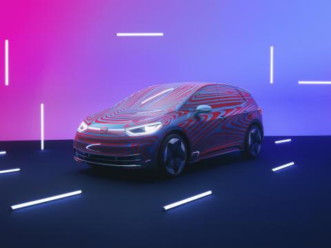 """""""Volkswagens nya elbil ID.3, här i kamouflerad version, lanseras på den svenska marknaden år 2020."""
