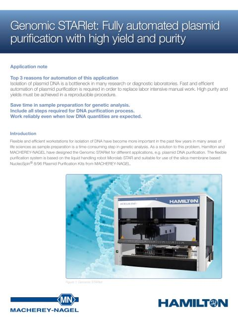 Genomic STARlet: Fully automated plasmid purification with high yield and purity
